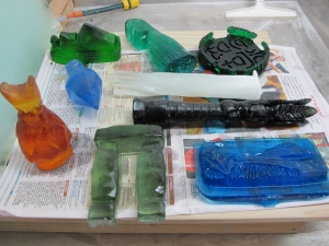 All the cast glass pieces ready for finishing
